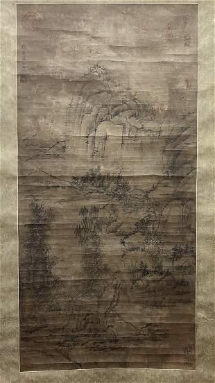 CHINESE PAINTING OF MOUNTAIN VIEW, LIN BIZHENG
