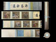 A HANDSCROLL PAINTING OF FIGRUES, DING GUANPENG