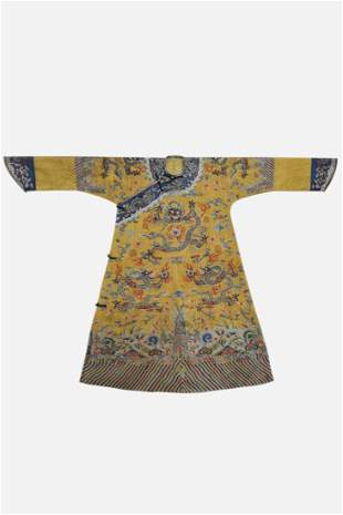 A JAUNE GROUND EMBROIDERY DRAGON ROBE