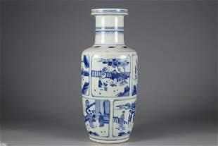 A BLUE AND WHITE 'FIGURE' PORCELAIN ROULEAU VASE
