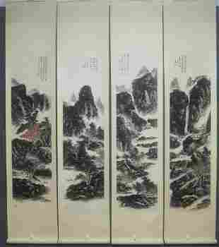 FOUR-PANEL PAINTINGS OF LANDSCAPE, HUANG BINHONG