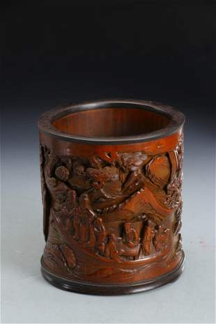 A BAMBOO CARVING OF 'RED CLIFF' BRUSH POT