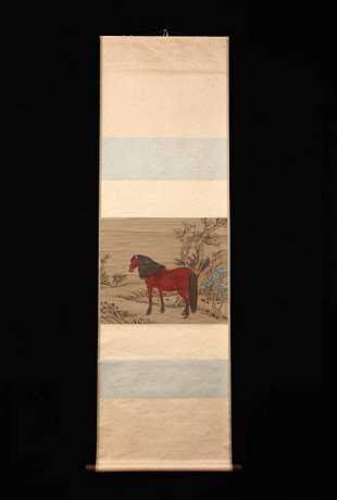 A PAINTING OF RED HORSE, GIUSEPPE CASTIGLIONE