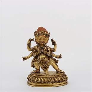 A GILT BRONZE FIGURE STATUE OF MAHAKALA BUDDHA