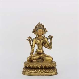 A GILT BRONZE FIGURE STATUE OF TARA BUDDHA