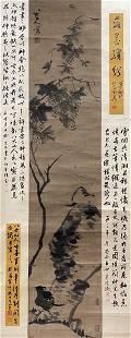 INK PAINTING OF CAT AND BIRD, BADA SHANREN