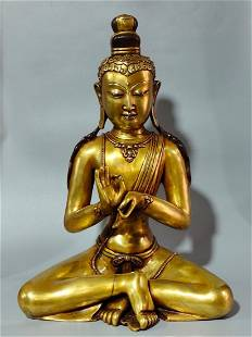 GILT RED COPPER STATUE OF SEATED GUANYIN