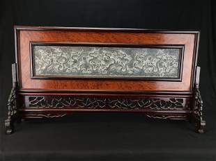 CHINESE NINE DRAGONS ROSEWOOD TABLE SCREEN