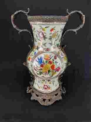 LARGE CHINESE EXPORT WONG LEE 1895 PORCELAIN  BRONZE