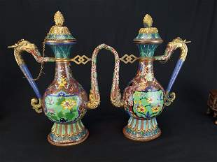 PAIR CHINESE CLOISONNE BRONZE EWERS TEAPOTS