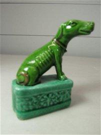 VINTAGE GREEN PORCELAIN ASIAN DOG FIGURE