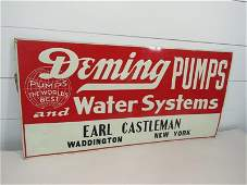 Deming Pumps Water Systems Embossed Tin Sign