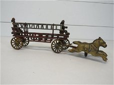 Antique Cast Iron Horse Drawn Fire Wagon Toy