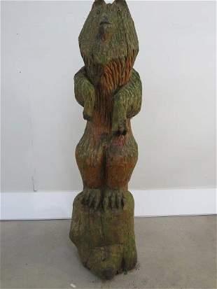 Folk Art Artisan Carved Wooden Bear Cub