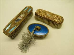 French Gilt Bronze Guilloche Enamel Brushes and Gold
