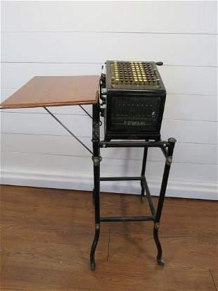 Antique Burroughs Adding Machine w/ Stand