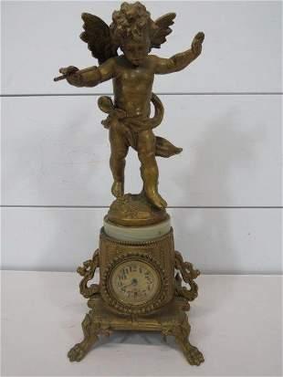 1891 Ansonia Gilt Metal Figural Cherub Statue Clock