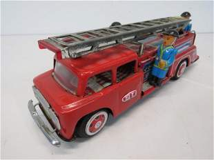 Tin Litho Friction Fire Truck Toy