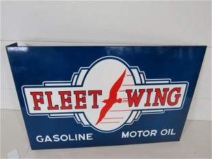DS Fleet Wing Gasoline Motor Oil Flange Porcelain Sign