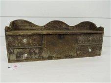 Early Faux Grained Wooden Wall Cupboard