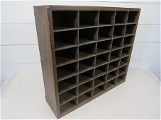Early Table Top  35 Slot Wood Cubby