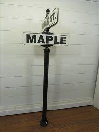 "Cast Iron ""Oak & Maple "" Street Sign"