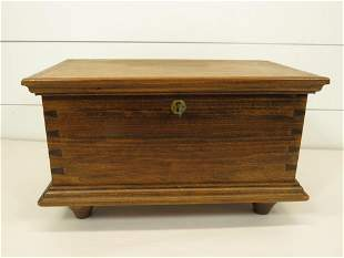 Small Wooden Dovetail Chest w/ Key