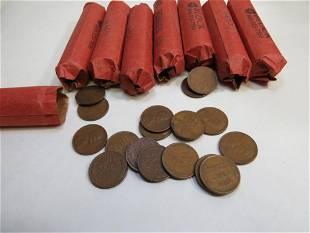 8 Rolls of 1940's Wheat Pennies