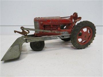 Hubley Cast Aluminum Tractor with  Bucket Shovel