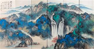 Six Pages of Chinese Painting By Zhang Daqian