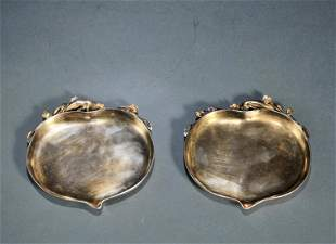 Pair Sterling Silver Peach Form Plates