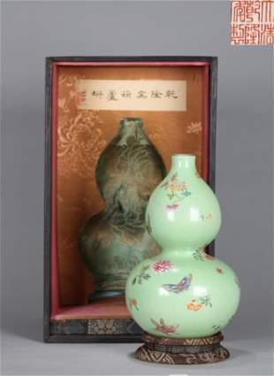Famille Rose Double Gourds Vase Qianlong Period