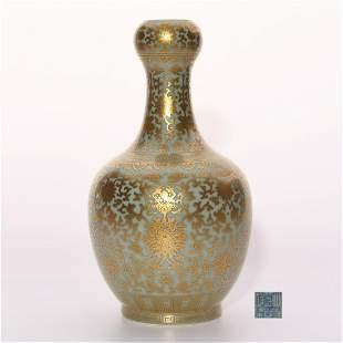 Celadon Glazed and Gilt Garlic Head Vase Jiaqing Period