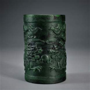A Carved Spinach Green Jade Brush-pot Qing Dynasty