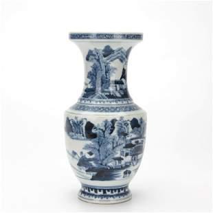 A Blue and White Landscape Vase Qianlong Period