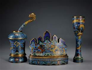 A Set of Three Cloisonne Enamel Scholar Items Qing