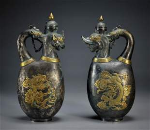 Pair Silver Partly Gilt Ewers Qing Dynasty