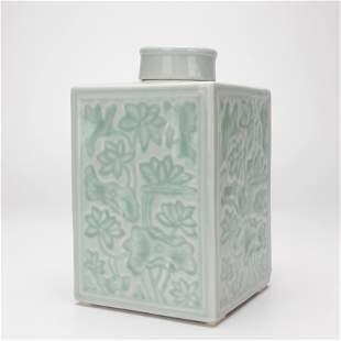 A Celadon Glazed Tea Caddy Qing Dynasty