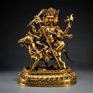 A Tibetan Gilt-bronze Palden Lhamo