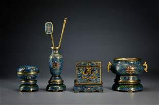 A Set of Four Cloisonne Enamel Scholar Items Qing