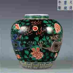 A Famille Verte Dragon Jar Qing Dynasty