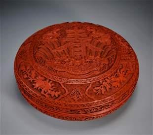 A Carved Cinnabar Lacquer Circular Box Qing Dynasty