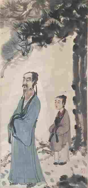 A Chinese Painting of Scholar Signed Fu Baoshi