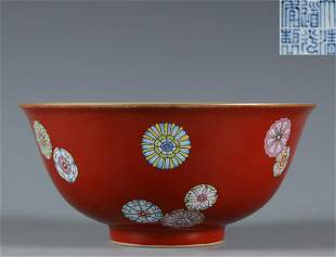 A Red Ground Famille Rose Bowl Qing Dynasty