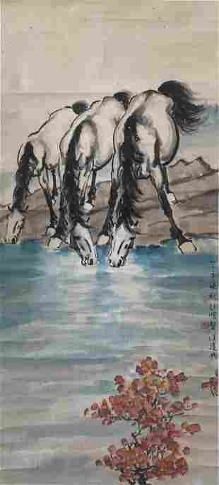 A Chinese Painting of Horsed Signed Xu Beihong