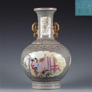 A Famille Rose Vase Qing Dynasty