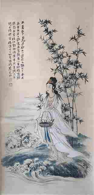 A Chinese Painting of Guanyin Signed Zhang Daqian