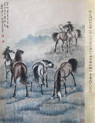 A Chinese Painting of Horses Group Signed Xu Beihong
