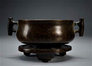 A Bronze Censer with Stand Qing Dynasty