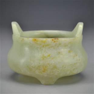 A White Jade Tripod Censer Qing Dynasty